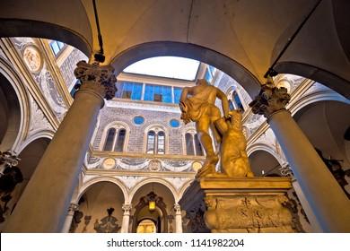 Palazzo Medici famous landmark of Florence atrium view, Tuscany region of Italy