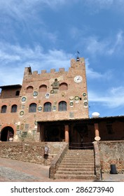 The Palazzo Pretorio - town hall of Certaldo Alto, has a picturesque facade adorned with ceramic coats of arms