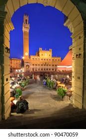 Palazzo Publica and Piazza del Campo at night, Siena, Italy
