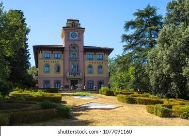 Palazzo Varano hosts the City Hall of Predappio, the town were Benito Mussolini was born. Predappio, Emilia-Romagna, Italy, August 2017
