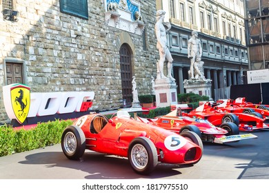 Palazzo Vecchio, Florence, Italy - September 12, 2020: Multiple racing cars parked on display during Ferrari's 1000th Formula 1 Grand Prix. Future models were also displayed in the festival.