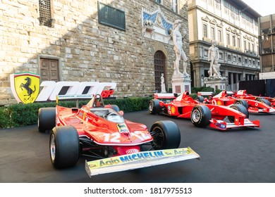 Palazzo Vecchio, Florence, Italy - September 12, 2020: Front view of Ferrari racing cars at the 1000th Formula 1 Grand Prix, which was considered as the very important milestone for the company