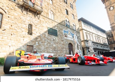 Palazzo Vecchio, Florence, Italy - September 12, 2020: Low angle view of sports car for racing parked at the 1000th Formula 1 Grand Prix parked before race, a very important milestone for the company