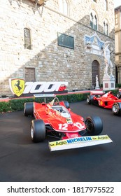 Palazzo Vecchio, Florence, Italy - September 12, 2020: Closeup of Ferrari racing sports car at the 1000th Formula 1 Grand Prix parked before race, a very important milestone for the company