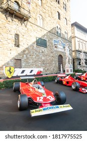 Palazzo Vecchio, Florence, Italy - September 12, 2020: Display of Ferrari racing sports car at the 1000th Formula 1 Grand Prix parked before race, a very important milestone for the company