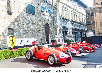 Palazzo Vecchio, Florence, Italy - September 12, 2020: Racing cars on display during Ferrari's 1000th Formula 1 Grand Pix. There were many race cars on display for the visitors to see