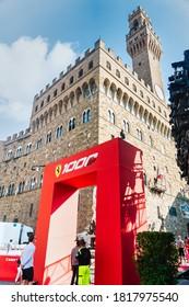 Palazzo Vecchio, Florence, Italy - September 12, 2020: Entrance gate for visitors at the Ferrari's 1000th Formula 1 Grand Prix, which was originally due to occur at the 2020 Monaco Grand Prix