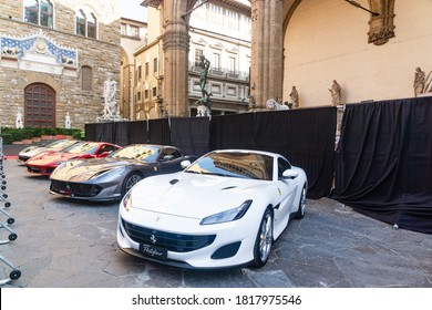Palazzo Vecchio, Florence, Italy - September 12, 2020: Line of new model Ferrari power cars on display at the 1000th Formula 1 Grand Prix, considered as the very important milestone for the company