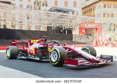 Palazzo Vecchio, Florence, Italy - September 12, 2020: Ferrari SF1000 race car with special livery on display for visitors to see, which was considered as the very important milestone for the company