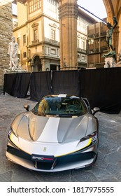Palazzo Vecchio, Florence, Italy - September 12, 2020: High angle view of beautiful silver Ferrari car parked in display at the 1000th Formula 1 Grand Prix , a very important milestone for the company