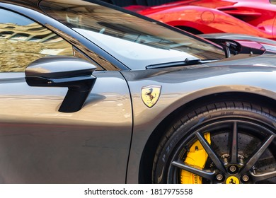 Palazzo Vecchio, Florence, Italy - September 12, 2020: Closeup of silver Ferrari car at the 1000th Formula 1 Grand Prix parked during event on display. The most important one for the company.