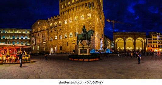 Palazzo Vecchio (Old Palace) is town hall of Florence, Italy. It overlooks Piazza della Signoria with its copy of Michelangelo's David statue as well as gallery of statues in adjacent Loggia dei Lanzi