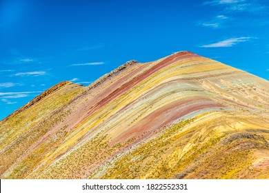Palccoyo rainbow mountain (Vinicunca alternative), mineral colorful stripes in Andean valley, Cusco, Peru, South America