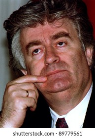 PALE, BOSNIA - MAY 16: Bosnian Serb leader Radovan Karadzic listens to a journalist's question at his headquarters in Pale, Bosnia, on Sunday, May 16, 1993. Karadzic was arrested for his role in the genocide in Bosnia.