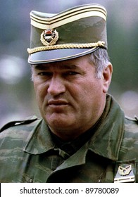 PALE, BOSNIA - MAY 7: General Ratko Mladic, commander of the Bosnian Serb army, prepares to meet Bosnian Serb political leaders in Pale, Bosnia, on Friday, May 7, 1993.