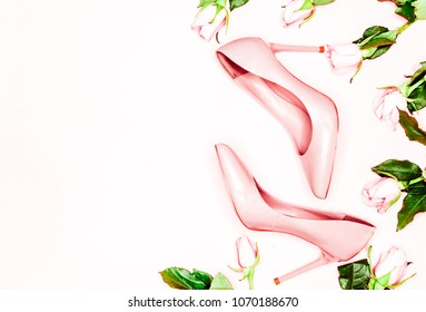 79ad73c4dae Pale pink female shoes on white background. Flat lay, top view trendy  fashion feminine