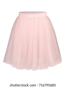Pale pink glamour tulle ballerina skirt isolated on white