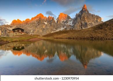 Pale of San Martino, Baita Segantini, Enrosadira on the peaks
