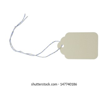 Pale yellow blank tag on solid white background
