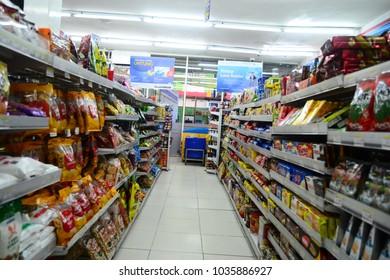 Palembang, Indonesia - February 25, 2018: inside Indomaret in Palembang,Indomaret is a mini market that sells family needs.