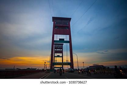 Palembang, South Sumatera, Indonesia (11/04/2016), Ampera Bridge, an iconic and landmark in Palembang that have significant rule for daily life of Palembang inhabitants.