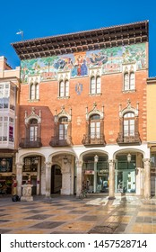 PALENCIA,SPAIN - MAY 13,2019 - View at the Painted Fascade of Villandrando College in Palencia. Palencia is a city in north-northwest Spain.