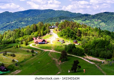 Palenica mountain, popular ski lift in Pieniny National Park, Carpathian mountains, Poland
