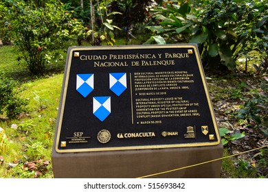 PALENQUE, MEXICO - NOV 3, 2016: UNESCO sign in Palenque, was a pre-Columbian Maya civilization of Mesoamerica. Known as Lakamha (Big Water). UNESCO World Heritage