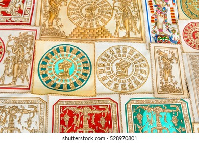 PALENQUE, MEXICO - NOV 3, 2016: Pyrography with Mexican images used as sovenirs for the tourists. Pyrogravure is the art of decorating wood or other materials with burn marks