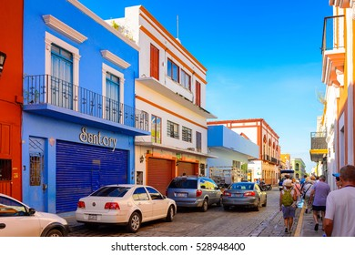 PALENQUE, MEXICO - NOV 4, 2016: Colourful architecture of Palenque, Mexico.  It is the poorest major city in the state of Chiapas.