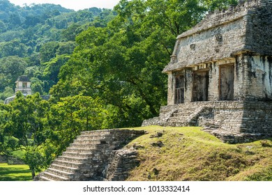 PALENQUE, MEXICO - NOVEMBER 29: Ancient Mayan structures at the heritage site on November 29, 2016 in Palenque. Palenque was declared a world heritage site by UNESCO in 1987.