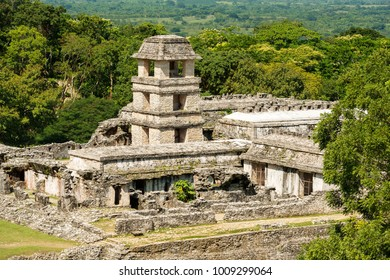 PALENQUE, MEXICO - NOVEMBER 29: High angle view of the ancient Mayan Palace at the heritage site on November 29, 2016 in Palenque. Palenque was declared a world heritage site by UNESCO in 1987.