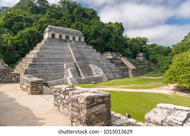 PALENQUE, MEXICO - NOVEMBER 29: Unidentified people in the mayan temple ruins surrounded by dense jungle on November 29, 2016 in Palenque. Palenque was declared a world heritage site by UNESCO in 1987