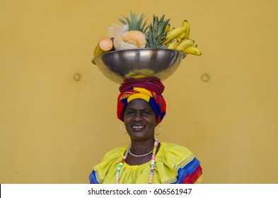 Palenquera Balancing Her Fruit Bowl on Her Head - February 2017 - Cartagena, Colombia
