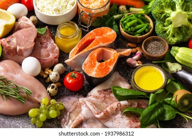 Paleo diet concept. Raw foods high protein and low carbohydrate products, ingredients for healthy food.