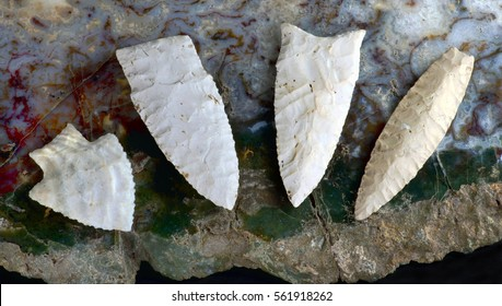 Paleo midwestern arrowheads made 7000 to 8000 years ago found near Pettis, Missouri.