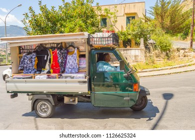 Palerme, Sicily, Europe-10/06 / 2018.Small truck selling clothes on a country road near Palermo in Sicily