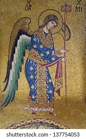 PALERMO - APRIL 8: Mosaic of Archangel Michael from Church of Santa Maria dell' Ammiraglio or La Martorana from 12. cent. on April 8, 2013 in Palermo, Italy.