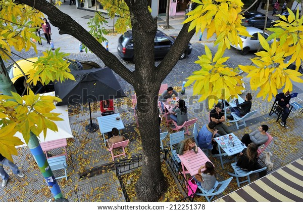 Palermo, Buenos Aires, - May. 5. 2012: cafe terrace in Palermo neighborhood in fall, Buenos Aires, Argentina