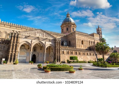 Palermo Cathedral in Palermo, Italy in a beautiful summer day