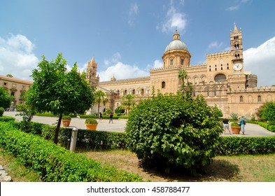 Palermo Cathedral (Metropolitan Cathedral of the Assumption of Virgin Mary) in Palermo, Sicily, Italy. Architectural complex built in Norman, Moorish, Gothic, Baroque and Neoclassical style.