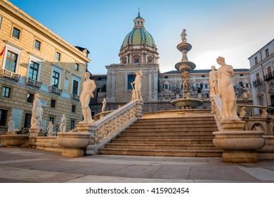 Palermo Fontana Pretoria, Sicily, Italy. Historical buildings, landmarks, Piazza Pretoria