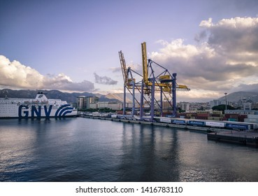 PALERMO, ITALY 5 JUNE 2019: View of the Port of Palermo during sunset