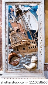 Palermo, Italy - April, 2018: The baroque decoration, marble inlays of Jonah and the whale in Santa Caterina church in Palermo. italy