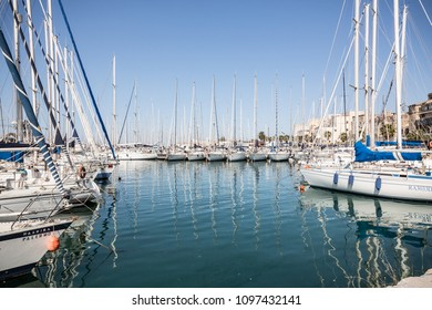 Palermo, Italy, April 24, 2018: Palermo sailing boat harbour on a sunny day.