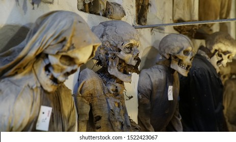 PALERMO, ITALY - APRIL 29, 2019: Catacombs of the Capuchins are burial catacombs in Palermo.