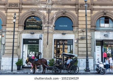 Palermo, Italy - August 10, 2017: Polo shop with a horse carriage parked on a street in the center of Palermo in Sicily, Italy