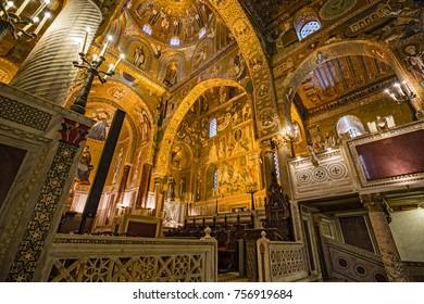 PALERMO, ITALY - AUGUST 28, 2017: Interior, decorated with beautiful mosaics Bizzantini, Palatina Chapel, Palazzo dei Normanni, Palermo, Italy.
