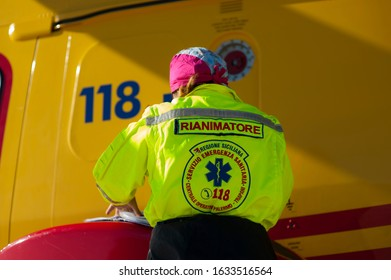 Palermo, Italy - December 7 2019: An anesthesiologist-resuscitator doctor, is part of the mission crew on board of the regional emergency helicopters.