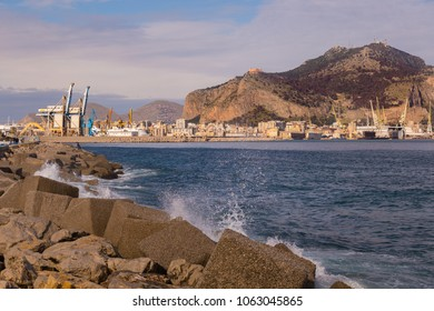 PALERMO, ITALY - JNUARY 8, 2017: The port with Mount Pellegrino and Utveggio Castle in the background, Palermo, Sicily, Italy